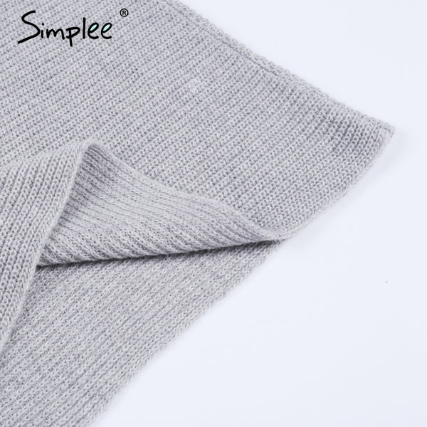 Simplee Off shoulder long knitted sweater dress Women elegant loose winter pullover dress Autumn batw sleeve gray sweater jumper - On Trends Avenue
