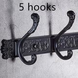 Black carve pattern robe hooks 4-5 Row wall Hook coat hanger door hooks for bathroom hook accessories 6700