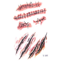 10PCS Scary Injury Sticker&Zombie Scars Tattoos With Fake Scab Blood Special Fx Costume Makeup For Halloween Decoration Supplies - On Trends Avenue
