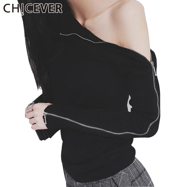 CHICEVER Knitting Top Female Women's Sweatshirts Knitted Pullover Zipper Long Sleeve Turtleneck Sexy Off Shoulder Tops Korean - On Trends Avenue