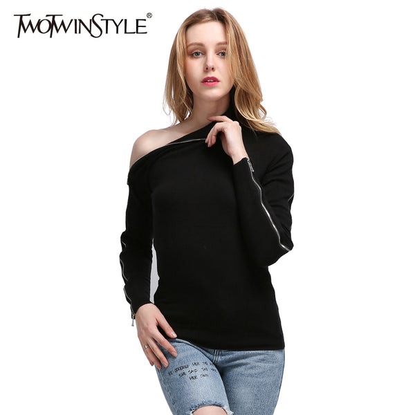 TWOTWINSTYLE 2017 Knitted Off Shoulder Pullovers Sweater for Women Long Sleeve Turtleneck Female Jumper Zipper Black Clothing - On Trends Avenue