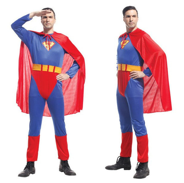 Adult Men Superman Halloween Jumpsuit+Cloak+Belt Costumes Halloween party Hero performance clothes adult man tights - On Trends Avenue