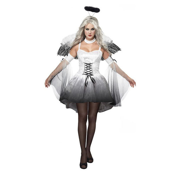2017 New Women Fantasia Halloween Costumes Fantasy Cosplay Party Fancy Dress Adult en Angel Costume With Angel Wings - On Trends Avenue