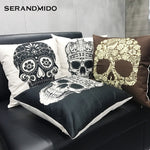 Pug Skull Cushion Cover Rolling Stone Rock Roll Skeleton Throw Pillow Cases for Coffee Bar Club Birthday Gift & Present SMC1725T