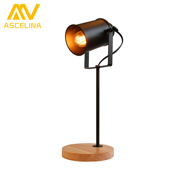 American Table Lamp ASCELINA Vintage Loft Wooden Led Desk Lamp Adjustable Reading Light Office Lamp Home Lighting Decor Stores - On Trends Avenue
