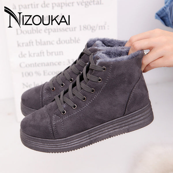Classic Women Winter Boots Suede Ankle Snow Boots Female Warm Plush Insole High Quality Ankle Boots For Women Mujer Lace-Up - On Trends Avenue