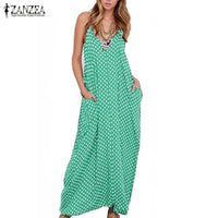 6 Color ZANZEA Summer Dress Fashion Women Dress Strapless Polka Dot Loose Beach Long Maxi Dress Vintage Vestidos Plus Size - On Trends Avenue