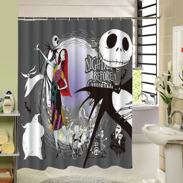 Waterproof 3D Halloween Shower Curtain Nightmare Before Christmas Ghost Skeleton Castle Style Bath Curtains Bathroom Accessories - On Trends Avenue
