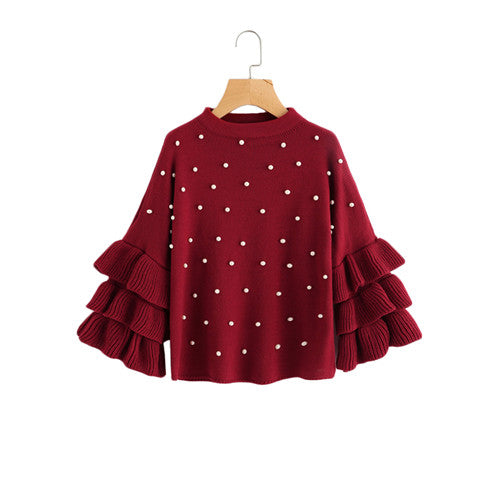 SHEIN Pearl Beading Tiered Ruffle Sleeve Jumper Burgundy Women Sweaters and Pullovers Crew Neck Long Sleeve Sweater - On Trends Avenue