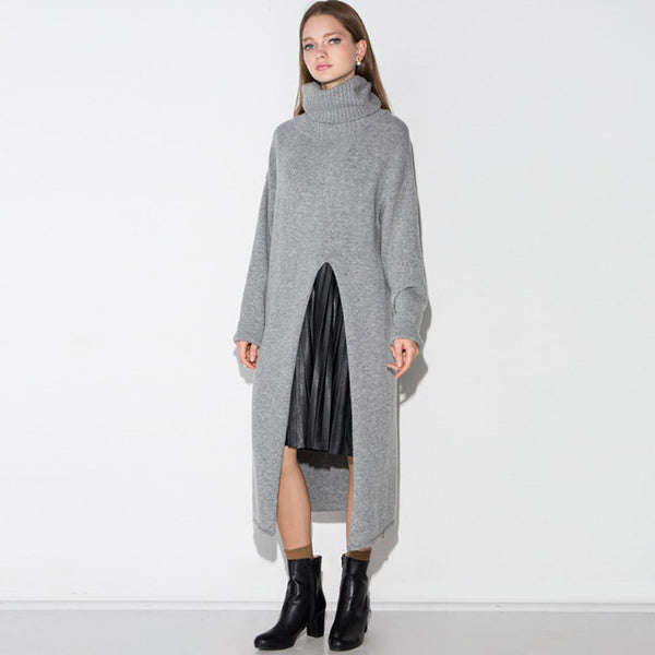 Women's Gray Turtleneck Long Sleevee Sweater Dress Autumn Wram Side Slit Long Sweaters Pullovers Ladies Knit Tops - On Trends Avenue