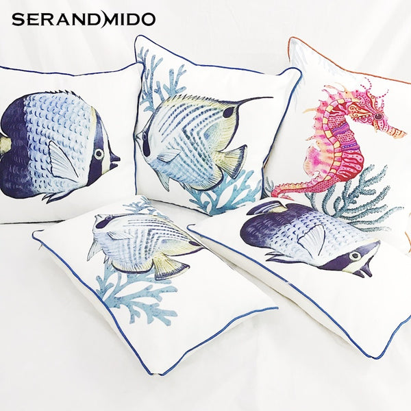 Ocean Style Sea Animal Marine Cushion Covers for Sofa Seat Car Perfect Quality Tropical Fish Sea Horse Pillow Cover SMC1712T-FB