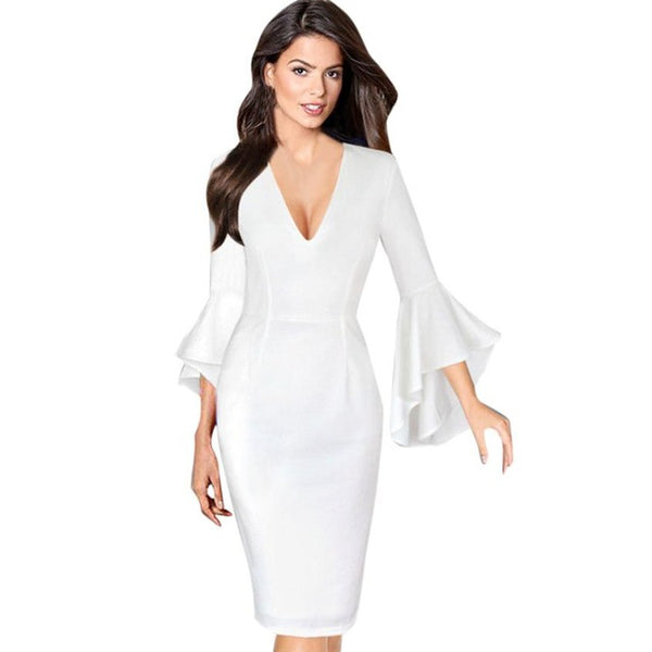 ... Women Sexy Deep V-neck Flare Bell Long Sleeve Office Party Bodycon  Dress Hot Sale 50a8ae172