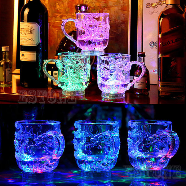 Glasses Beer Cup Dragon LED Inductive Rainbow Color Flashing Light Glow Mugs For Party - On Trends Avenue