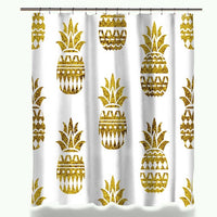 Miracille Modern Glitter Gold Leaves Pineapple Print Shower Curtains Polyester Waterproof Cat Flamingo Style Bathroom Curtain
