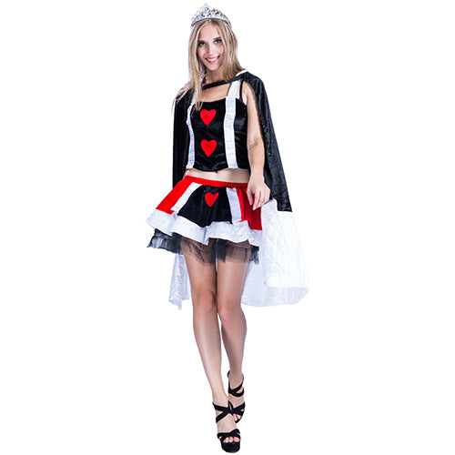 2017 Adult Anime Cosplay Christmas Halloween Costumes Queen of Hearts Cosplay Tank Top Skirt Cloak Women Witch Vampire Costume - On Trends Avenue