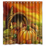 Happy Thanksgiving Day Harvest Custom Shower Curtain 100% Polyester Waterproof Bathroom decor Polyester Shower Curtain - On Trends Avenue
