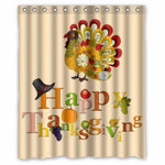 Turkey Happy Thanksgiving day Custom Shower Curtain 100% Polyester Waterproof Bathroom decor Decorative Polyester Shower Curtain - On Trends Avenue