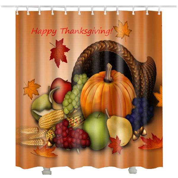 Thanksgiving bath curtain waterproof fabric polyester cortinas bano holiday shower curtain 200cm - On Trends Avenue