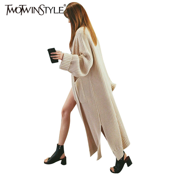 TWOTWINSTYLE 2017 Knitting Female Long Cardigan Split Straight Sweater for Women Lantern Sleeve Coat Gray Casual Clothing Korean - On Trends Avenue