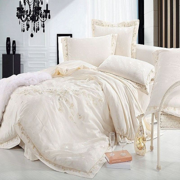 Jacquard Satin bedding set Luxury 4/6pc Embroidered Princess duvet cover Silk Cotton bedclothes bed sheet queen king size