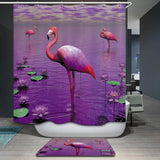 decorUhome Polyester Waterproof Cartoon Flamingo Wolf Peacock Shower Curtain Bathroom Curtains 12 Hooks Mildewproof Bath Curtain