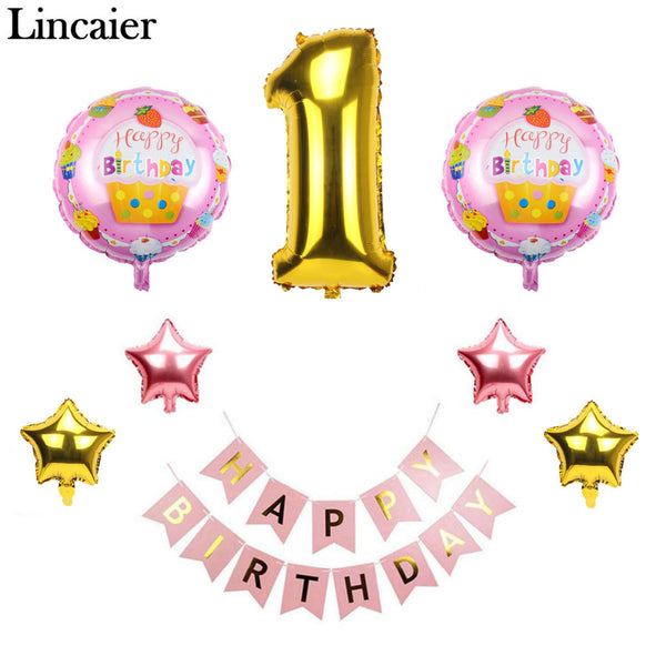 Lincaier 1st Happy Birthday Balloons Foil Number Balloons Banner First Baby Boy Girl Party Decorations My 1 Year Supplies - On Trends Avenue