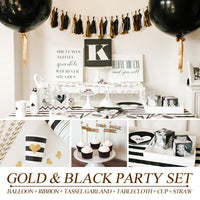 [PGP] Gold & Black Party Set, Balloons Tassel garland Tablecloth cups straws, for New year eve Hen Engagement Wedding Decoration - On Trends Avenue
