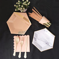 40 Sets Pink/Marble Gold Tableware Hexagonal Plates Cups Cocktail Party Napkins New Years Eve Decorations Wedding Table Setting - On Trends Avenue