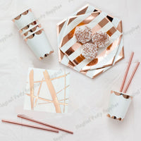 16 sets Foil Silver Stripe Tableware Set Large Party Plates Cups Napkins Straws for Baby Shower Christmas Wedding Party Favor - On Trends Avenue