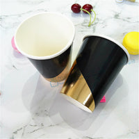 80pcs Black and Gold Party Paper Cup Gold Foil Cup Gatsby Party Supplies Modern Party Drinkware for  Grand Event Halloween - On Trends Avenue