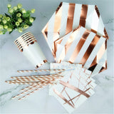 24 Sets Foil Silver Stripe Party Table Kits Dinner Plate Snack Dish Napkin Cup Straw for Christening & Baptism Gender Reveal - On Trends Avenue