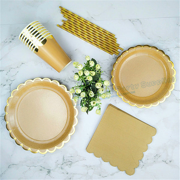 "48 Sets Gold Kraft Party Tableware Paper Plates 9"" Dishes 7"" Paper Cups Paper Straws Napkin Bridal Shower Wedding Party Supplies - On Trends Avenue"