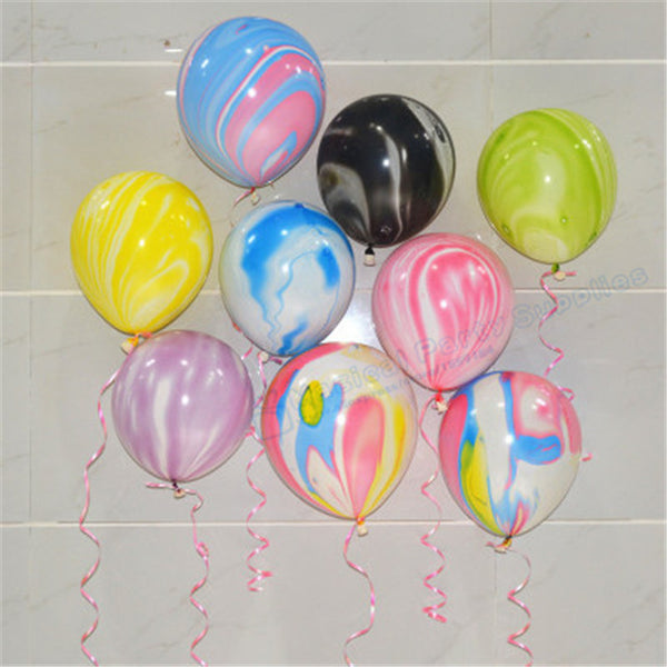 100pcs Blue and White Marble Effect Balloons Blue Baby Shower Balloons Rainbow Children's Party Decoration Wedding Backdrop - On Trends Avenue