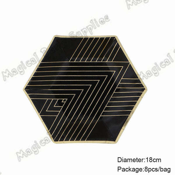 16pcs Black and Gold Small Dessert Party Paper Plate Gold Foil Paper Plate Gatsby Party Tableware - On Trends Avenue