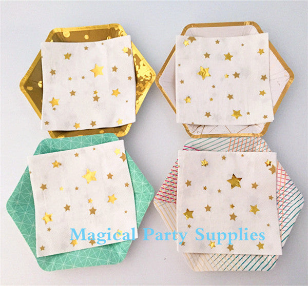 New Year Party Favor 1600pcs Gold Star Foil Paper Napkins Cocktail/Bachelorette/Bridal Shower Party Napkins - On Trends Avenue
