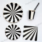 8 Sets Lovely Silver & Black Stripe Party Tableware GIRL BOY Birthday Party Paper Plate Cups Napkins Paper Straw Party Supplies - On Trends Avenue