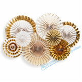 2 sets (16pcs) Gold Glitter Paper Fan Backdrop Gold Birthday Gold Fans Candy Buffet Decor Paper Rosettes Wedding Party Favor - On Trends Avenue