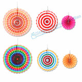 Free Ship 5 Sets Wedding Paper Fan  Mix 3 Sizes 40cm/30cm/20cm Rainbow Color Party Pinwheels Backdrop Rosette Wall Hanging Decor - On Trends Avenue