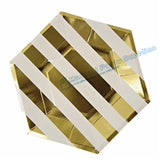 48pcs Foil Gold Stripe Paper Plates 9inch Birthday Dinner Dessert Plates Baby Shower New Years Eve Decorations Christmas Decor - On Trends Avenue