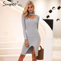 Simplee Halter V neck sexy knitting sweater dress women Elastic soft split black autumn winter dress Bodycon long sleeve dress - On Trends Avenue