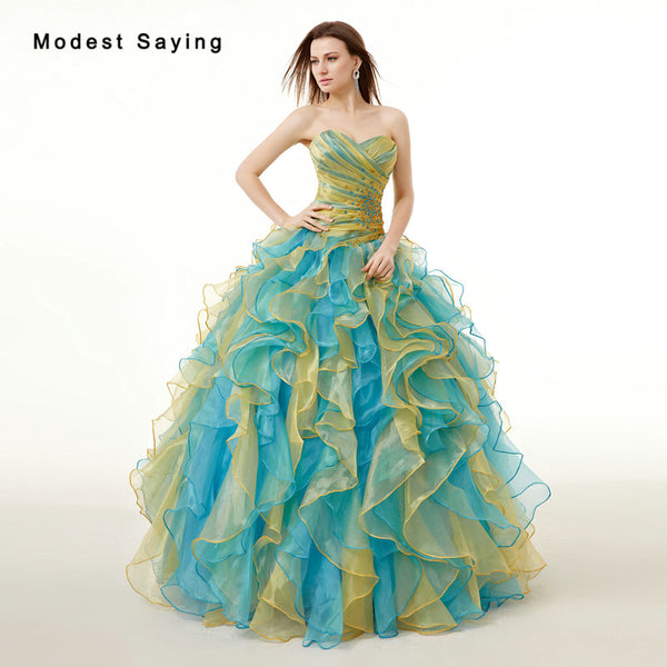 Blue and Yellow Ball Gown Sweetheart Crystal Pleat Ruffled Quinceanera Dresses 2017 Girl Formal Party Prom Gowns vestido 15 anos - On Trends Avenue