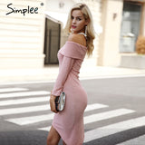 Simplee Off shoulder knitting sweater dress women Sexy autumn winter dress Bodycon irregular hem dress vestidos de fiesta - On Trends Avenue