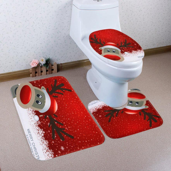 Home Christmas Toilet Foot Pad Seat Cover Radiator Cap Bathroom Sets ping sep14 - On Trends Avenue