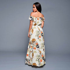 Jessie Vinson Elegant Floral Print Women Suits Slash Neck Off Shoulder Split Maxi Dress +  Shorts - On Trends Avenue