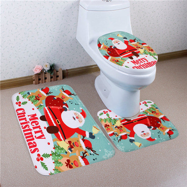 12 Types Home Christmas Toilet Foot Pad Seat Cover Radiator Cap Bathroom Sets - On Trends Avenue