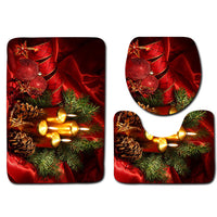 3Pcs/Set 3D Christmas Tree Toilet Seat Cover Foot Rug Floor Lid Mat Carpet Decor - On Trends Avenue