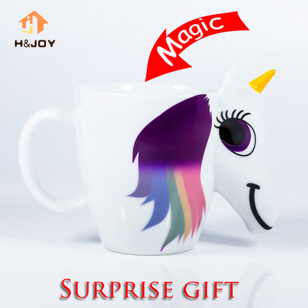 Cartoon Unicorn Mug Unicorn Discoloration Cup 3D Ceramic Coffee Cup Girl Creative Cute Gift color changing Magical Horse Cups - On Trends Avenue