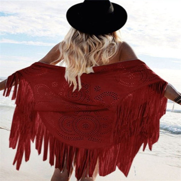 Style Fashion Design Faux Suede Shawl Hollow Out Floral Cut Out Asymmetric Tassel Kimono Capes - On Trends Avenue