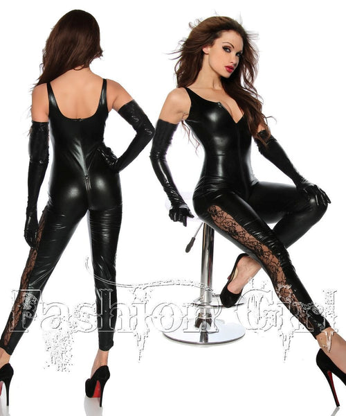 New Arrival Sexy Faux Leather Tank Jumpsuit PVC Costume Back to Crotch 2 Way Zipper Cat suit with Gloves High Quality - On Trends Avenue