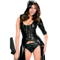 high quality faux leather lingerie punk gothic dress black wet look faux leather dress women sexy hooded long gown bodysuit - On Trends Avenue